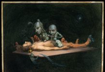 An unconscious naked man lying on a table being attacked by little demons armed with surgical instruments; symbolising the effects of chloroform on the human body.