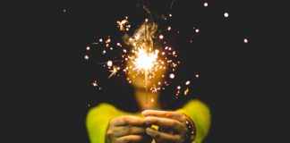 Girl with fire cracker, diwali, celebration