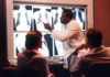 Radiologist examines chest x-rays