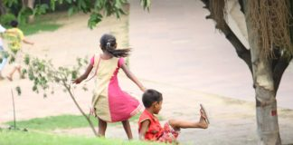 Indian kids playing in garden