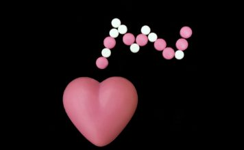 Heart symbol with pills